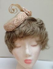 Beige, Nude Oval Sinamay Fascinator/cocktail hat