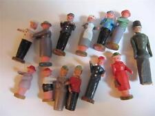 Lot 13 Career People Folk Art Hand Painted Carved Wood Mini Figure Vintage nurse