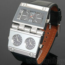 OULM Military Army 3 Colors Time Zones Movements Quartz Watch Leather Q0751