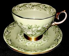 Vintage Queen Anne Bone China Tea Cup and Saucer Set, Green with White Flowers