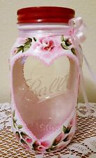 Pink Roses Shabby Chic Mason Jar Candle Holder Cottage Style Hand Painted