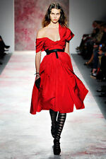 RT $7000 -  PRABAL GURUNG RUNWAY GORGEOUS RED SILK GOWN DRESS SIZE 10