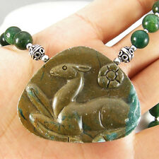HAND CARVED NATURAL GREEN CANYON JASPER DEER PENDANT INDIAN JADE NECKLACE