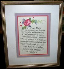 "Framed Inspirational Saying ""A New Day"" Great Home Decor Custom Frame Arlington"