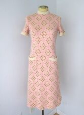 Vtg 60s Mod Pink Brown Cream Checkerboard Wool Knit Shift Dress Pockets XS/S