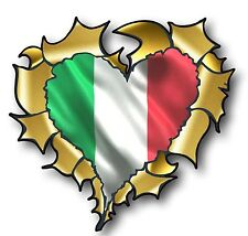 Ripped Torn Metal GOLD HEART & Italy Italian il Tricolore Flag vinyl car sticker