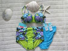 Seafolly Swimwear 8 Ladies Bustier Bra CHARTREUSE & Matching Pants + BONUS PANTS