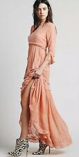 FREE PEOPLE White Romance Embroidered Maxi Dress in Salmon Coral XS or SMALL