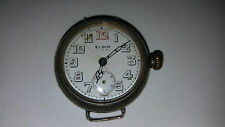 A SOLID SILVER ELGIN MILITARY TRENCH WATCH