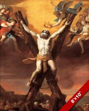SAINT ST ANDREW ON THE CROSS CRUCIFIXION MARTYR PAINTING ART REAL CANVAS PRINT