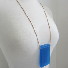 Gorgeous designer resin and leather blue necklace