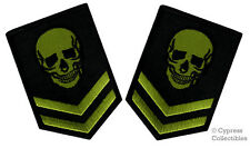 LOT 2 SKULL PATCH iron-on EMBROIDERED MILITARY SKELETON GREEN BLACK VERSION