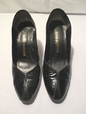 Vtg 60's Mod Winsome Shoes Patent Leather Alligator Heels Size 8 1/2 B