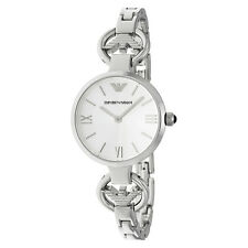 Emporio Armani Gianni T-Bar Silver Dial Stainless Steel Ladies Watch AR1772