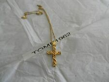 "Premier Designs 18"" gold crystal cross necklace gorgeous free ship w/bin"