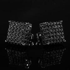 18k Black Gold ICED OUT AAA Lab Diamond Micropave Square Stud Hip Hop Earring 8M