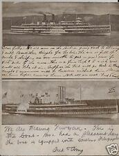 (2) 1908 Hudson River Dayline Postcards / William Shaw Green Spring OH