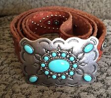 Bill Adler Men's Leather belt with Turquoise Colored Stones & Studs XL