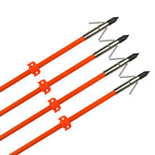 3 Bow Fishing Arrow Fish Hunting Broadhead Point w/ Safe Slide Fiberglass Shaft