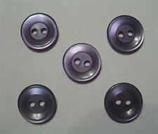 """SET OF 5 VINTAGE 60's PEARLIZED PURPLE PLASTIC 9/16"""" ROUND 2-HOLE SEWING BUTTONS"""
