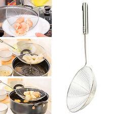 Kitchen Colander Scoop Spoon Cooked Food Strainer Pasta Vegetable Drainer Silver