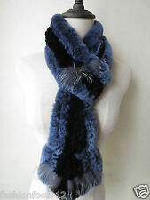 Winter warm women's  real  rex rabbit silver fox  knitted scarf  black with blue