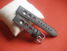 20mm BLACK LEATHER GRAND PRIX WITH WHITE STITCHING WATCH STRAP SS