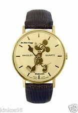 NEW Men's Disney Bradley Mickey Mouse Swiss Pie Eye Gold Watch HTF