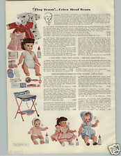 1956 PAPER AD 2 Pg Doll Tiny Tears Molded Rooted Hair Horsman Romper Baby Drink