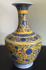 Gorgeous Chinese Yellow Glaze w Blue Flower Design Porcelain Vase Marked 15""