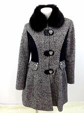 BETSEY JOHNSON WOMENS BLACK & WHITE WOOL TWEED COAT FUR TRIM SIZE 12