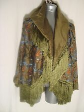 Romeo Gigli for Callaghan Vtg Green w/Multi Emb FRINGED Silk Jacket WEARABLE AR