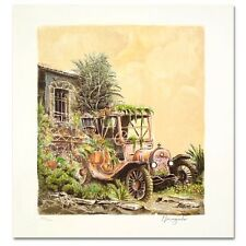 "'' Abandoned  Car ""   Lithograph   by  Jacob  Nowogroder . Certificate"