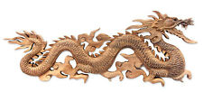 Wood Wall Sculpture 'Baru Klinthing Dragon' Hand Carved Relief Panel NOVICA Bali