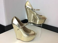 RIVER ISLAND gold Wedge Peep Toe Shoes Size 39 Uk 6 Vgc Heels Women's