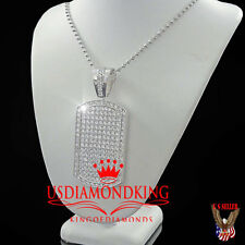 14K WHITE GOLD FINISH ICED OUT BREATHTAKING WHITE LAB DIAMOND DOG TAG CHAIN SET