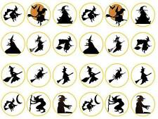 24 kids Halloween black witch  bun fairy cupcake toppers  party edible paper