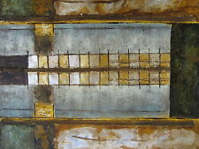 "Original Hand Painted Gold and Silver 20""x24"" Oil Painting Abstract Art"
