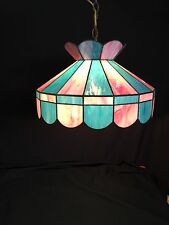 Vintage Swag Hanging Lamp Light Acrylic Tiffany Pink  Blue  Mid Century Retro