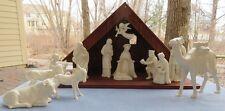 Large & Rare Goebel Hummel 15 Piece Christmas Nativity Set With Wood Stable