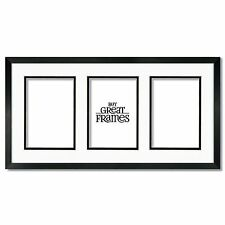 One 10x20 Black Wood Frame, Glass, White/Black Mat for three 5x7 photos