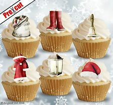 PRE-CUT SANTA'S ACCESSORIES EDIBLE WAFER PAPER CUPCAKE CAKE TOPPERS DECORATIONS