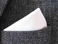 "White cotton Pocket Square Handkerchief hanky unisex 12"" x 12"" mod style"