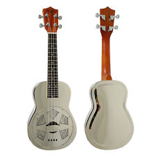 Newly 24 Inch concert brass body resonator ukulele chrome finish with free case