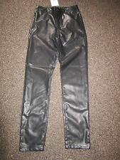 BNWT UK 6 Topshop Leather Look Trousers Black High Waisted Skinny Dress Up Jeans