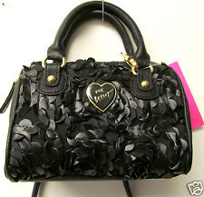 Betsey Johnson Betseyville Mini Crossbody Black Leather & Lace Handbag New