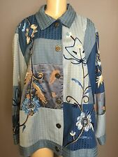 INDIGO MOON 1X Jacket Blue Patchwork Floral Embroidered Button Up Rayon