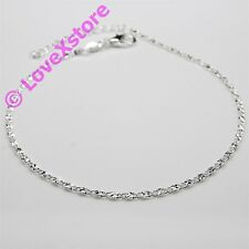 925 Sterling .925 Silver Plated Shiny & Sparky Chain Anklet Charm Anklets pc