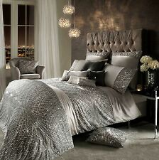 KYLIE MINOGUE ESTA SEQUIN SATIN SILVER SUPER KING COTTON 7 PIECE BEDDING SET