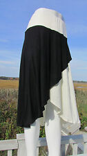 NEW 1X PYRAMID COLLECTION skirt black ivory faux wrap high low sexy assymetrical